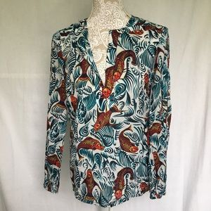 Tory Burch // Painted Coy Fish Print Popover Top 4